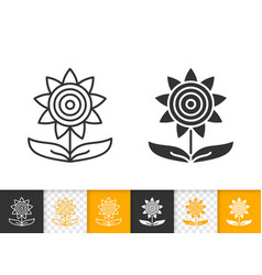 Sunflower autumn simple black line icon vector