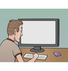 surprised man near blank monitor vector image