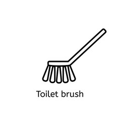toilet brush simple line icon washing brush thin vector image