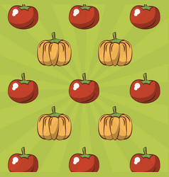 Tomato and pumpkin background vector