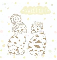 Two cute kitten vector