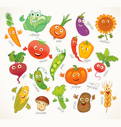 Vegetables funny cartoon character vector