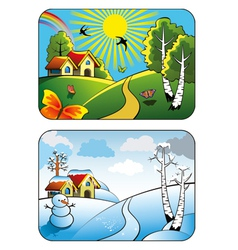 Winter and summer landscape vector image