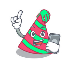 With phone party hat character cartoon vector