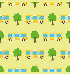 yellow city bus seamless pattern vector image