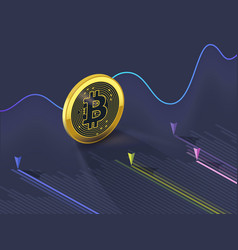 bitcoin cryptocurrency evolution graph vector image vector image
