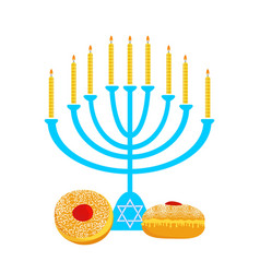 Hanukkah menora with candles and traditional vector image