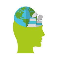 head think green globe nuclear power plant vector image