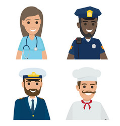 professions doctor policeman sailor cook vector image vector image