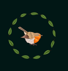 embroidery blackthorn leaves and robin bird vector image vector image