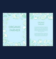 handdrawn fruits and vegetables card flyer vector image vector image