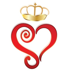 Heart and crown logo vector image vector image