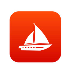 sailing yacht icon digital red vector image vector image