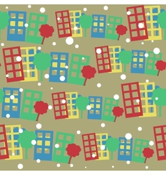 seamless pattern with cartoon town vector image vector image