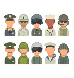 set icon character military people soldier vector image vector image