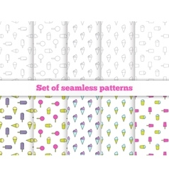 Set seamless patterns Line design ice cream vector image