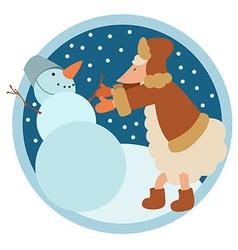 Sheep and snowman vector image