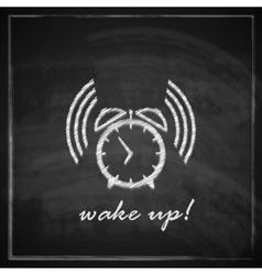 vintage with alarm clock sign on blackboard vector image