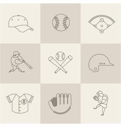 baseball flat icons vector image