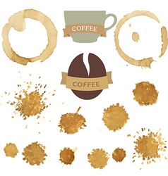 Coffee Stains With Symbols Set vector image