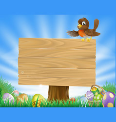 easter sign with bird and eggs vector image vector image