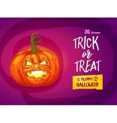 Jack pumpkin with lettering card vector image