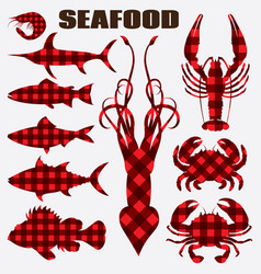 set of different stylized seafood vector image vector image