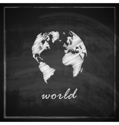 vintage with the world map on chalkboard vector image vector image