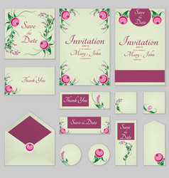 collection greeting cards with stylized burgundy vector image vector image