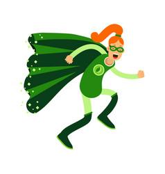 ecological superhero redhead woman running eco vector image vector image