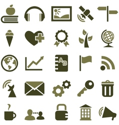 Signs and icons olive color vector image vector image