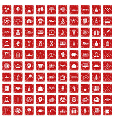 100 success icons set grunge red vector image