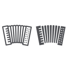 Accordion line and glyph icon music and keyboard vector