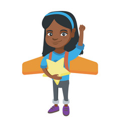 african girl with airplane wings behind her back vector image