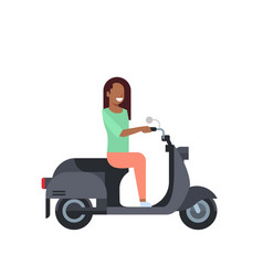African woman riding electric scooter over white vector