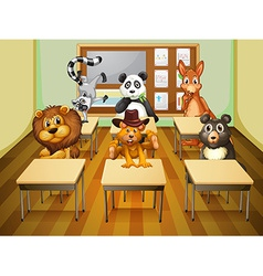 Aimals in classroom vector image