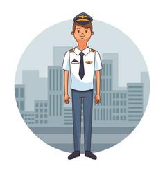 Airliner pilot cartoon vector
