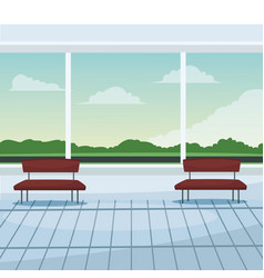 Airport waiting room chairs windows landscape vector