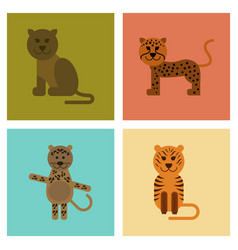 Assembly flat icons nature cartoon panther tiger vector