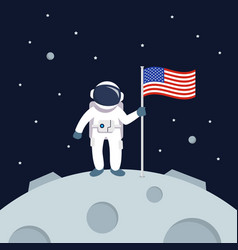 astronaut landing on moon holding american flag vector image