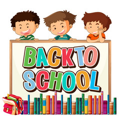 Back to school template with boys vector