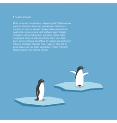 Background with two penguins standing on stylized vector