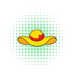 Beach hat icon comics style vector
