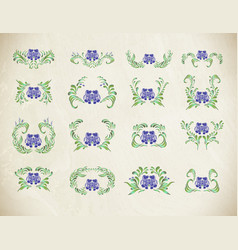 Beautiful border with flowers in vintage style vector