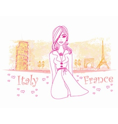 beautiful women Shopping in France and Italy vector image
