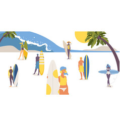 Beautiful young people with various surfboards vector