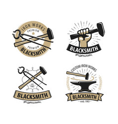 Blacksmith forge logo or label workshop iron vector