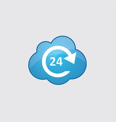 Blue cloud 24 hours service icon vector image