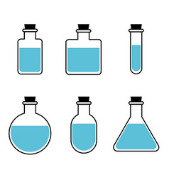 Bottles of potion for web game science vector