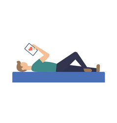 boy laying with laptop vector image